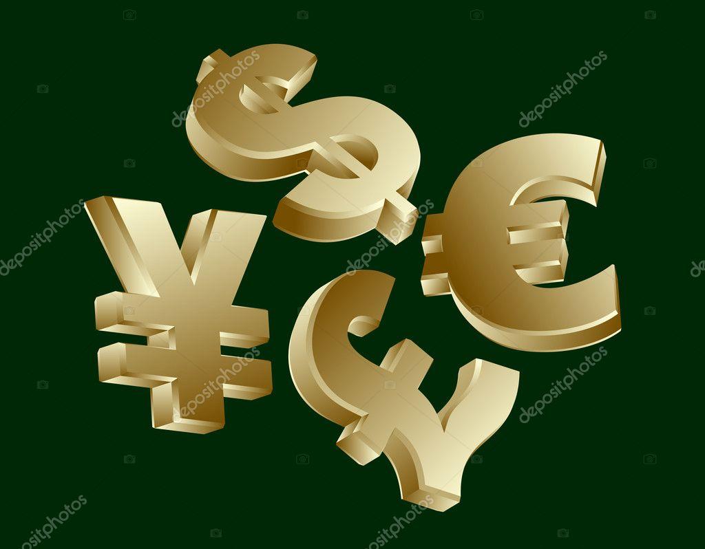 ドル、ユーロ、円、ポンドの通貨...