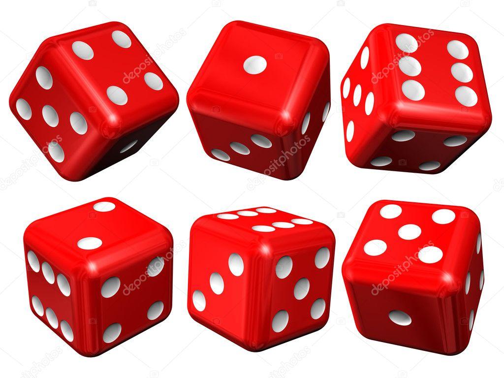 Set of red casino craps