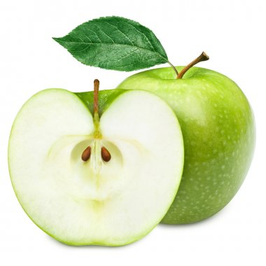 Green apple fruits and half of apple and green leaves