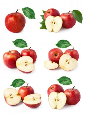 Set red apple fruits with leaf isolated