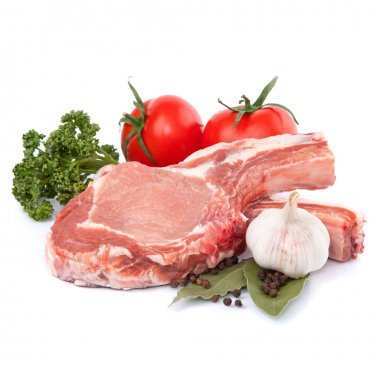 Fresh raw meat and vegetables