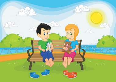Kids sitting on bench vector illustration
