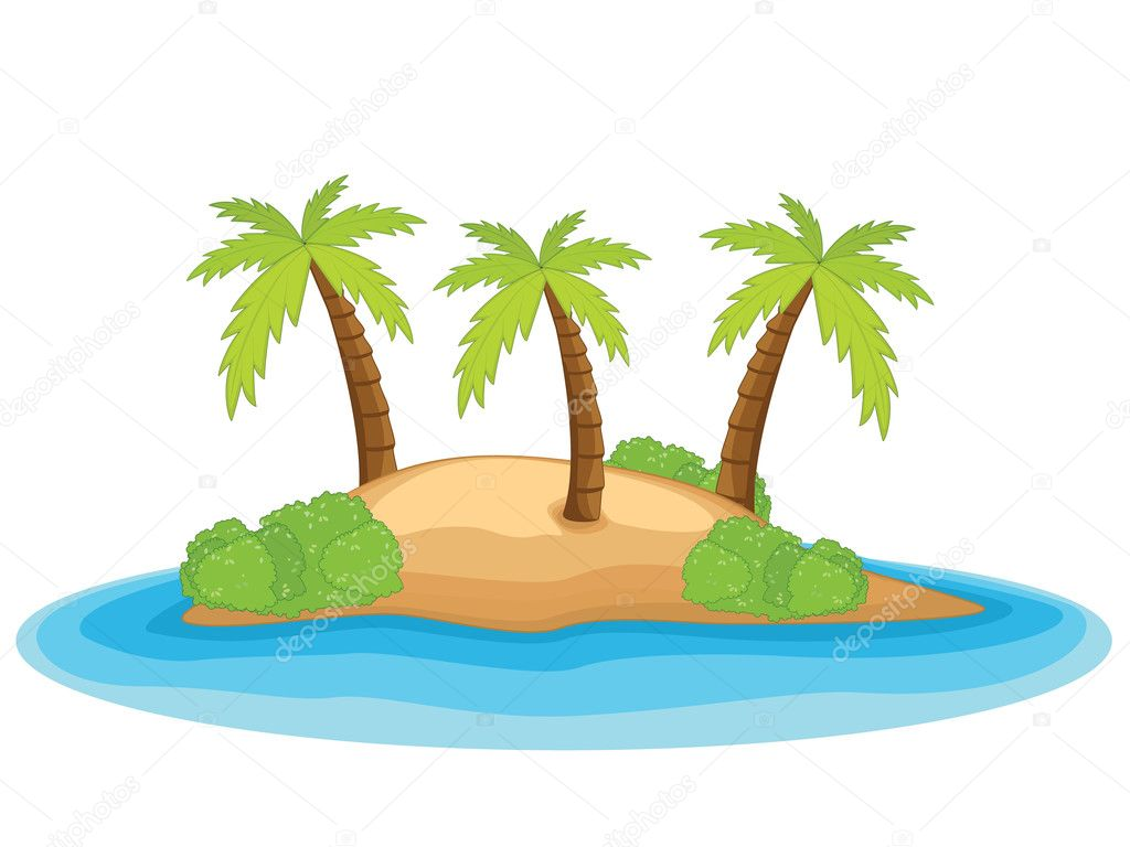 Palm island vector illustration