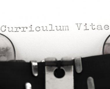 Curriculum Vitae on the typewriter