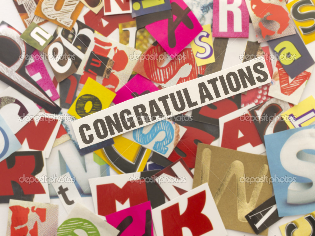 word congratulation with cut letters stock photo vesnac 11276773