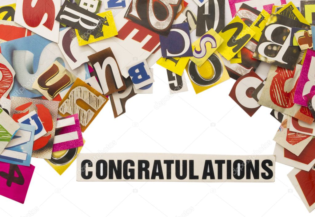 word congratulation with cut letters stock photo vesnac 11341900