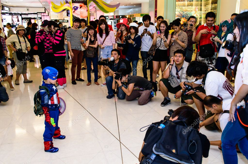 Bangkok - August 26 : Captain America cosplay pose in Japan Festa in Bangkok 2012 on August 26, 2012 at Siam Paragon, Bangkok, Thailand.