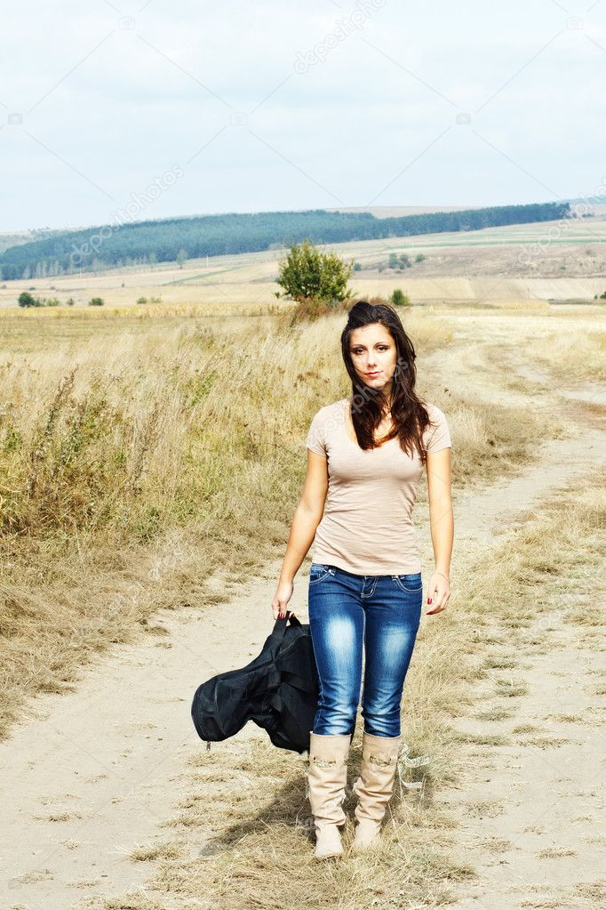 Beautiful country guitar girl