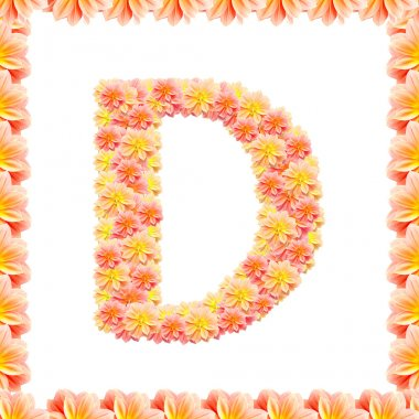 D,flower alphabet isolated on white with flame
