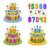 vektorové ilustrace - sada na narozeniny koláče se svíčkami