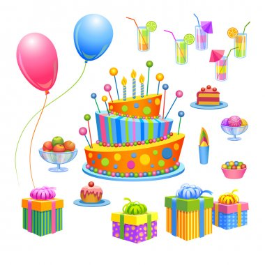 Vector illustration - set of birthday