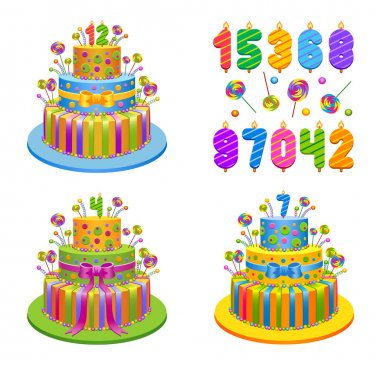 Vector illustration - set of birthday pies with candles