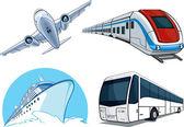 Fotografie Reisen Sie Transport-Set -, Flugzeug, Bus, Schiff und Zug