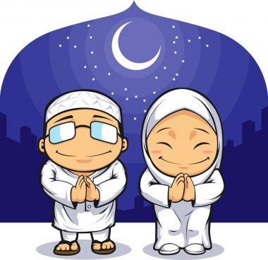 Cartoon of Muslim Man Woman Greeting Ramadan