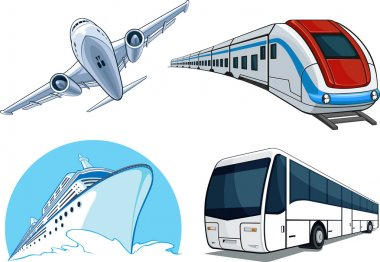 Travel Transportation Set - Airplane, Bus, Cruise Ship, and Train