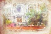 Fotografie ulice staré Amsterdamu provedené v umělecké akvarel styl