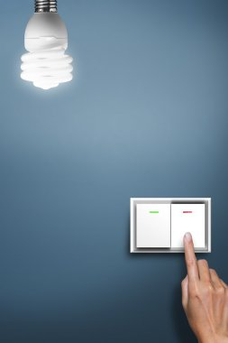 Hand pressed to light switch