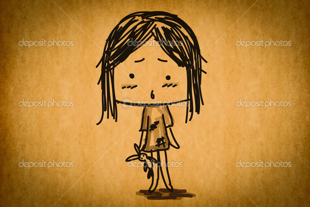 Free hand sketch cartoon girl