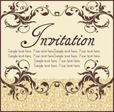 Vector ornate narrow frame with sample text and borders. Perfect as invitation or announcement. All pieces are separate. Easy to change colors and edit. stock vector