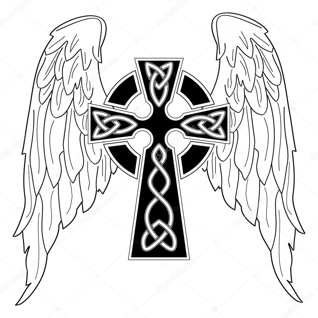 Black Cross With Wings On White Stock Vector