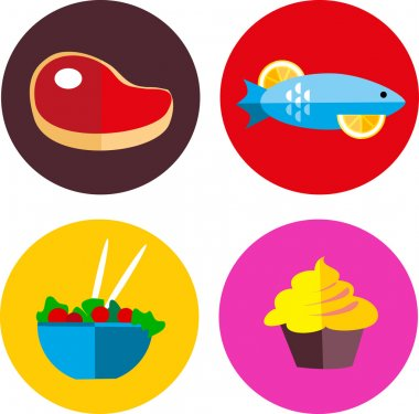 Food icons with meat and vegetarian food