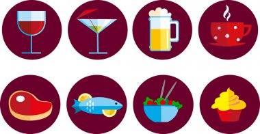 Set of food and drink icons, illustrsation stock vector