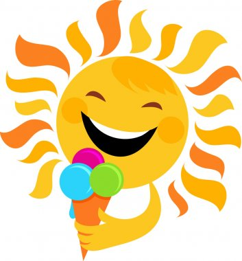 Smiling sun eating ice cream