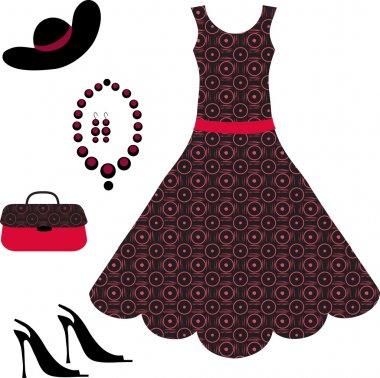 Romantic dress, necklace, shoe and handbag isolated on white