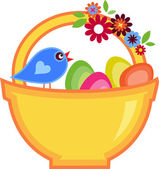 Fotografie Easter greeting card with bird and basket full of eggs