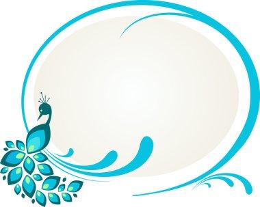 Illustration of peacock sitting on floral frame