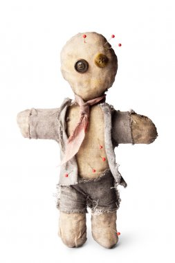 Photo of Businessman voodoo doll on white