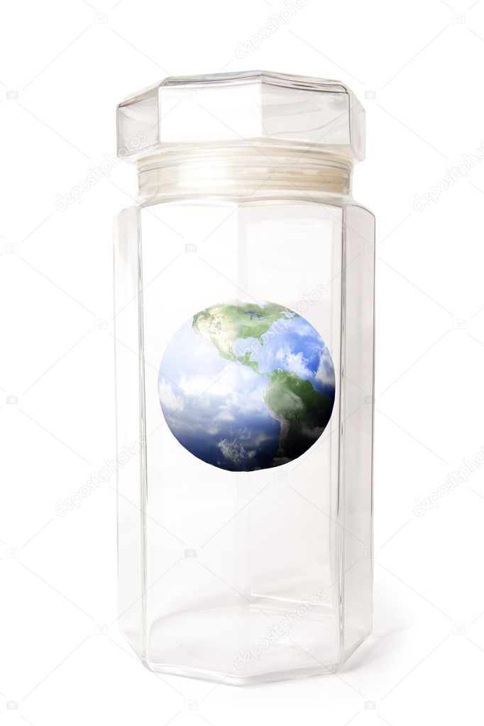 Protecting earth inside a crystal jar isolated on white