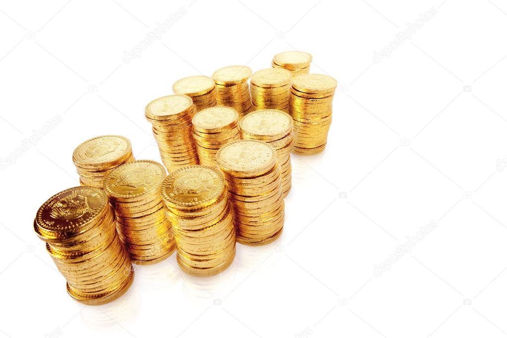 Hergestellt Aus Gestapelten Münzen Geld Zeichen Stockfoto