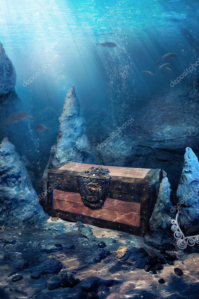 closed treasure chest underwater stock photo fergregory 11604995