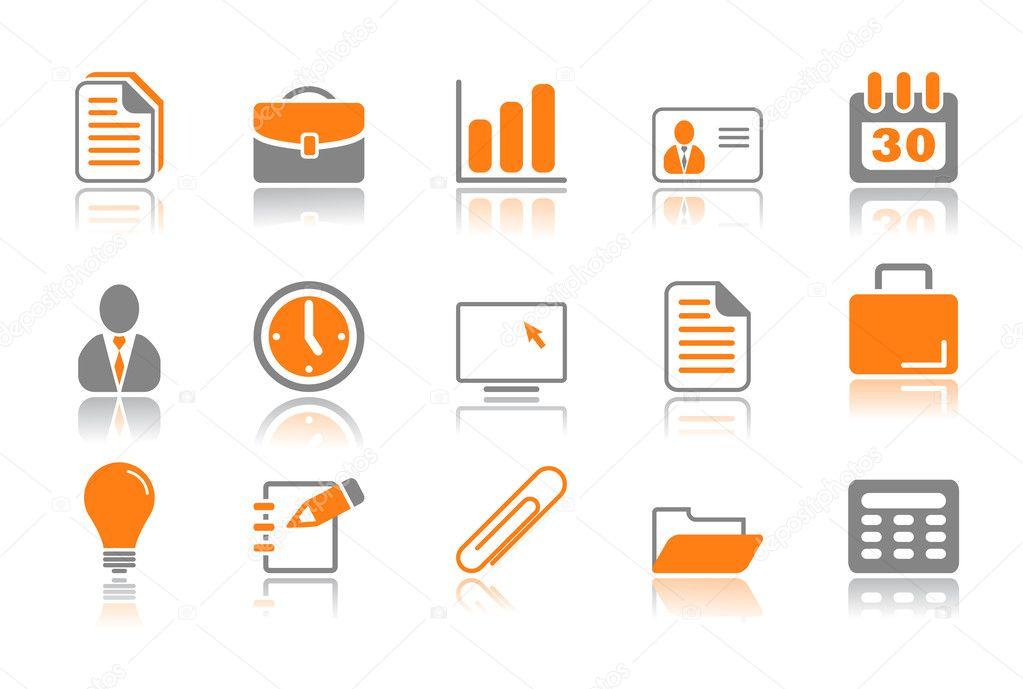 Oficina y negocios serie iconos naranja vector de for Oficina de orange