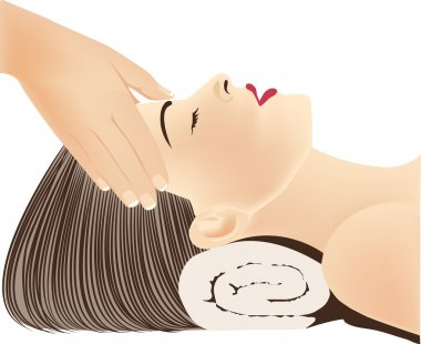 Face Massage, Hands massaging female face, spa