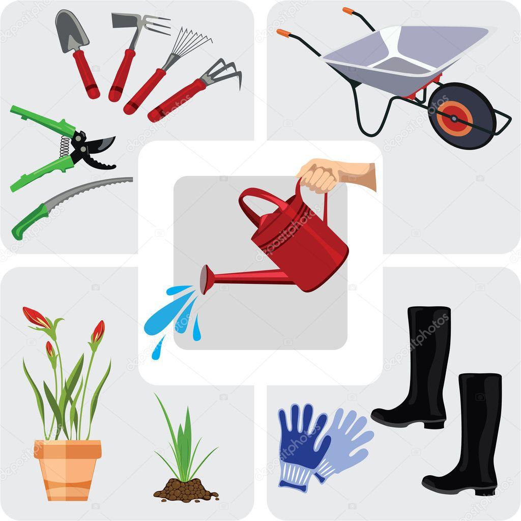 Gardening icons set, vector illustration