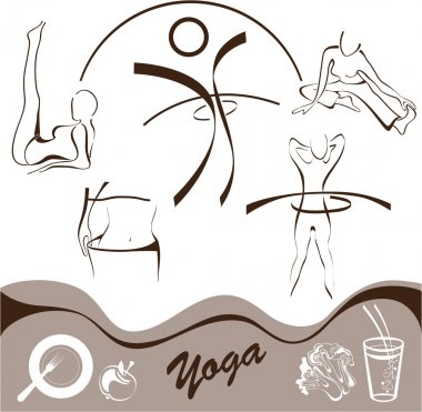 Yoga, set icon, logos vector