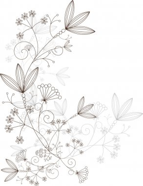 Floral design, grassy ornament, vector illustration