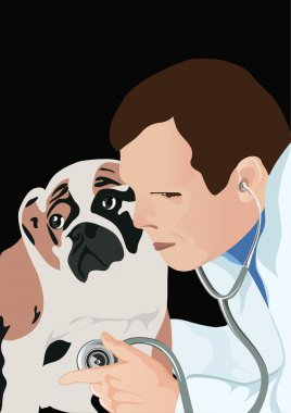 Veterinarian with stethoscope and dog, vector illustration