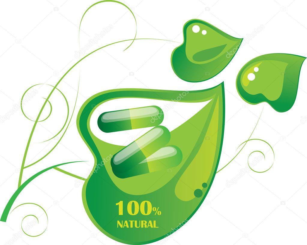 Pills capsule on a green leaf