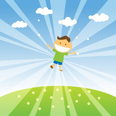 Smiling boy jumping in the blue sky of spring. clip art vector