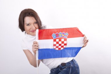 Young beautiful woman holding flag.