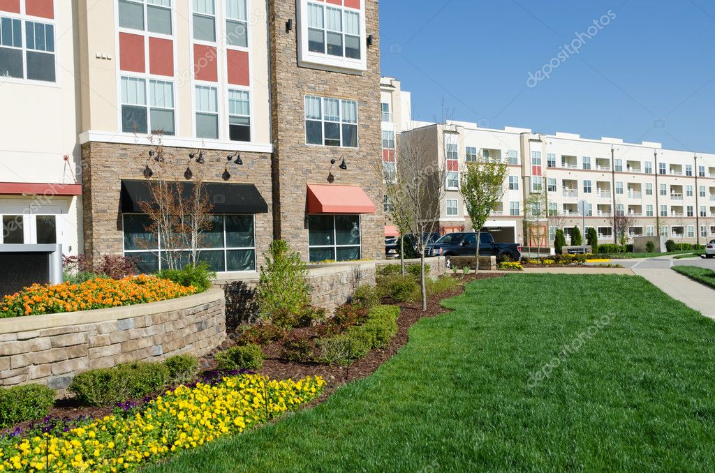 Modern apartment complex exterior