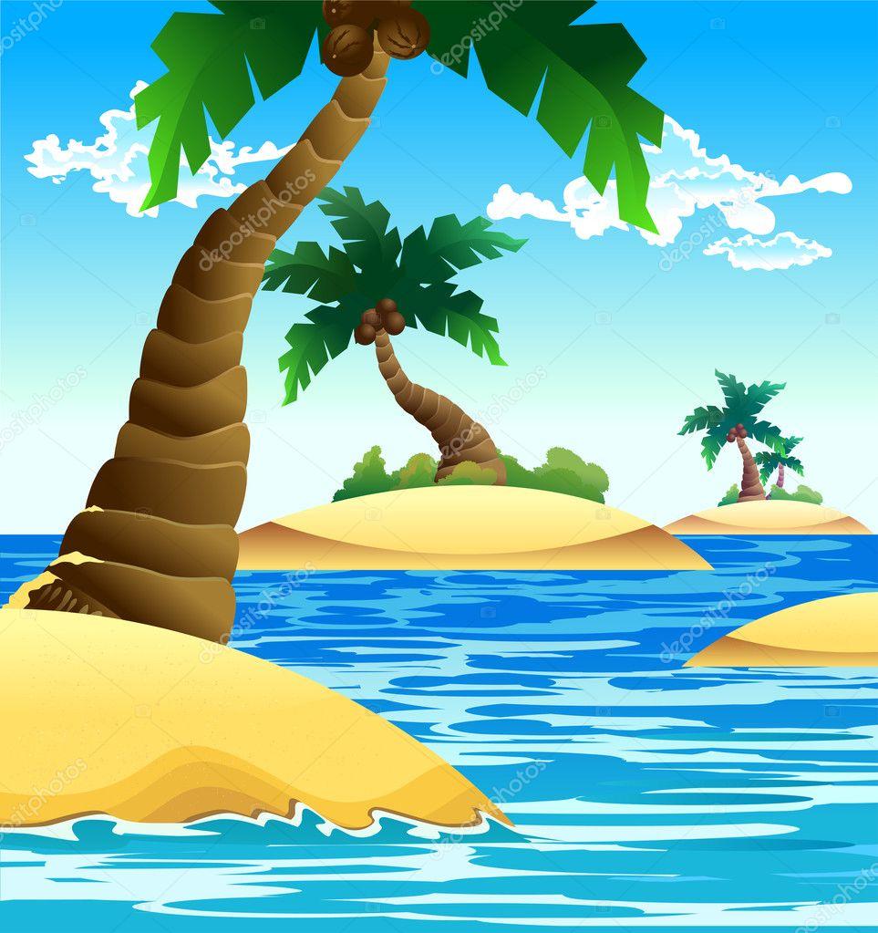 Island Beach Scenes: Stock Vector © Si_nyam_nyam