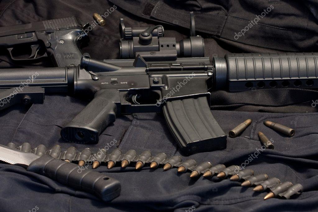 Modern weapon M4, black background stock vector