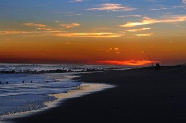 :Fishing at sunset time