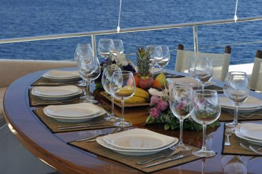 Dinner table on the boat