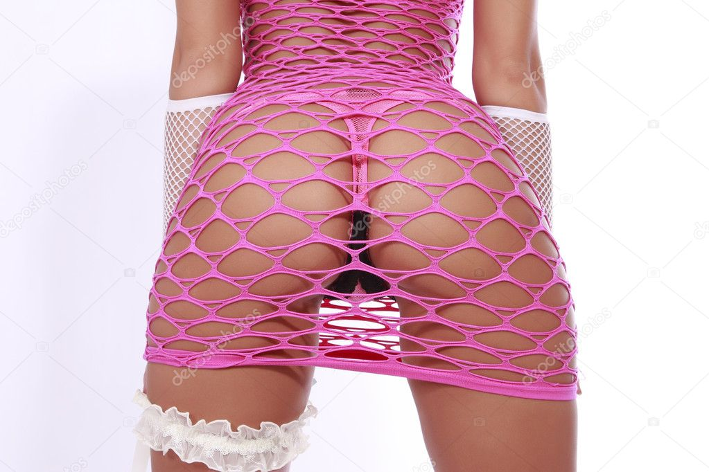 Sexy girl in pink fishnet dress