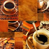 Fényképek Retro stílusú, egy csésze kávét a grange háttér kávédaráló